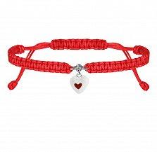 Детский красный браслет Сердце в сердечке, плетеный, с эмалью и фианитом, 10х20см