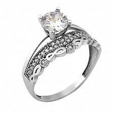 Серебряное кольцо Самира с узорной шинкой и фианитами