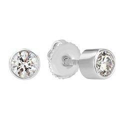 Серебряные серьги-пуссеты Дея с цирконием SWAROVSKI ZIRCONIA