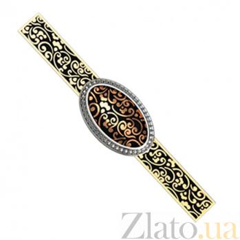 Золотой зажим для галстука с бриллиантами Эдвин KBL--ЗАЖ003/крас/брил