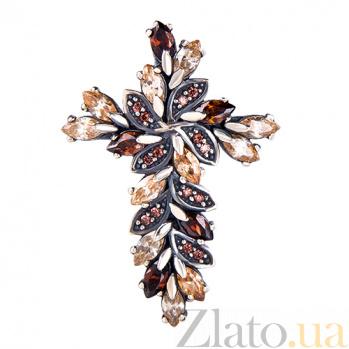 Серебряный крестик с фианитами Богема 3443