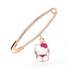 Золотая булавка Китти с белой и розовой эмалью