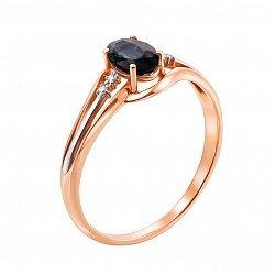 Золотое кольцо Клудия в комбинированном цвете с бриллиантами и сапфиром