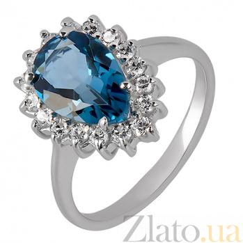 Серебряное кольцо с Лондон топаз и фианитами Эстурой