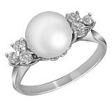 Кольцо из белого золота Паулина с жемчугом и бриллиантами