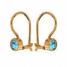 Золотые серьги Беатриче с голубыми фианитами