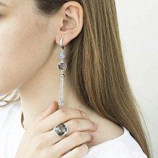 Серебряные серьги-подвески Альберта с завальцованным серым цирконием и агатами