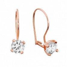 Серебряные сережки с позолотой и цирконием Антонет
