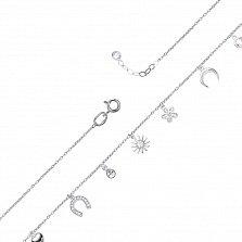 Золотой браслет в белом цвете Символы судьбы с подвесными элементами и завальцованными фианитами
