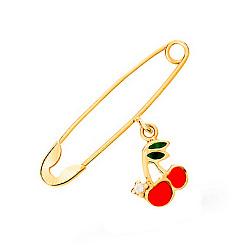 Золотая булавка Вишенки с цветной эмалью и цирконием
