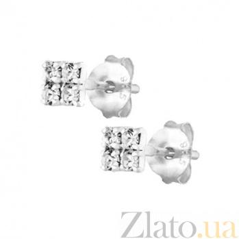 Сережки-пуссеты из серебра Север SLX--С1СТ/616