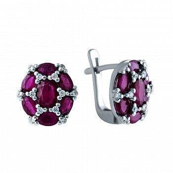 Серебряные серьги с рубинами и фианитами 000150584