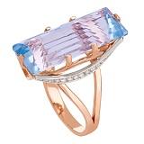 Золотое кольцо с голубым топазом и фианитами Одетта