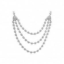Серебряное колье Элизабет в фантазийном плетении с многослойной передней частью и фианитами