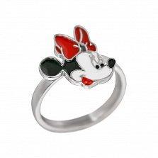 Серебряное кольцо Минни Маус с цветной эмалью