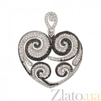 Золотаяподвеска Сердце с цирконием VLT--ТТТ3477