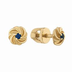 Золотые серьги-пуссеты Завиток с сапфирами