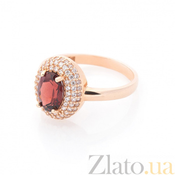 Золотое кольцо Майя в красном цвете с гранатом и фианитами 000082327