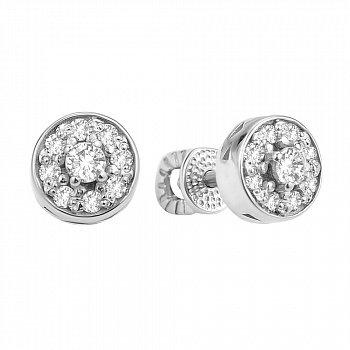 Серебряные серьги-пуссеты с фианитами 000106914