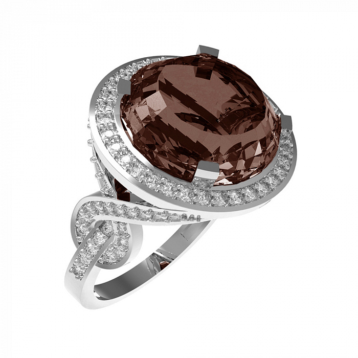 Серебряное кольцо Миранда с раухтопазом и фианитами 000079687