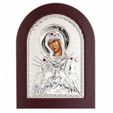 Семистрельная серебряная икона Божьей Матери