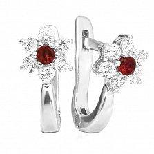 Серебряные сережки Незабудки с красными и белыми фианитами