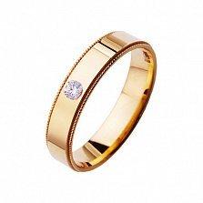 Золотое обручальное кольцо Верность любви с цирконием