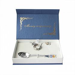 Серебряный набор Моєму Похреснику из ложки, крестика, ладанки и шнурка с разноцветной эмалью 0000547