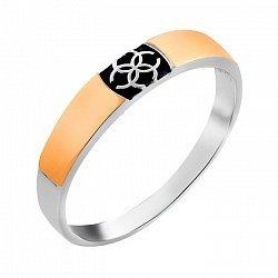 Серебряное обручальное кольцо с золотыми накладками и чернением 000115946