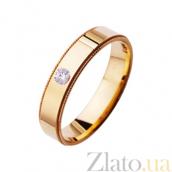 Золотое обручальное кольцо Верность любви с цирконием TRF--412207
