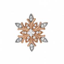 Серебряная подвеска  с позолотой Снежинка