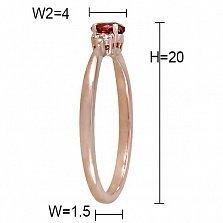 Кольцо Джесси из красного золота с бриллиантами и гранатом