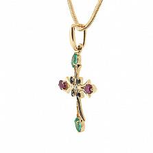 Золотой декоративный крестик с изумрудами, рубинами, сапфирами и бриллиантом Рим