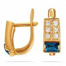 Золотые серьги Доминика с топазом лондон и фианитами