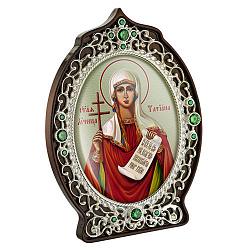 Латунная икона с образом Святой великомученицы Татианы с зелеными фианитами и цветной эмалью