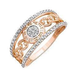 Кольцо из красного золота с фианитами 000121691