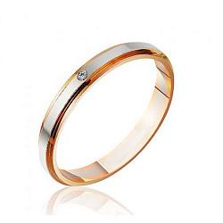Обручальное кольцо в комбинированном цвете золота с бриллиантом 000001616