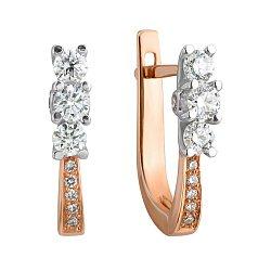 Золотые серьги Богема в комбинированном цвете с бриллиантами