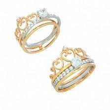 Золотое кольцо Королева любви с фианитами