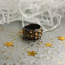 Серебряное черненое кольцо Оттиски с позолотой