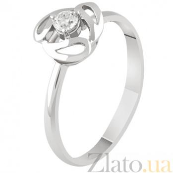 Золотое кольцо с бриллиантом Поцелуй KBL--К1853/бел/брил