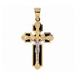 Крест из желтого золота с ониксом и фианитами Причастие