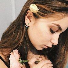 Серебряные серьги-джекеты Алисия с агатами и кристаллами циркония