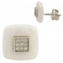 Серебряные серьги-пуссеты Дельфина с белой керамикой и фианитами