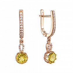 Серьги-подвески из красного золота с цитринами и фианитами 000135589