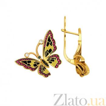Серьги из желтого золота с красным цирконием Бабочки VLT--Т278-3