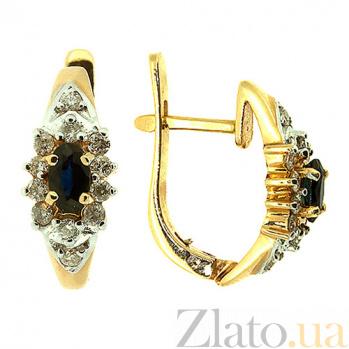 Серьги из желтого золота с сапфирами и бриллиантами Иветта ZMX--BLS-131_K