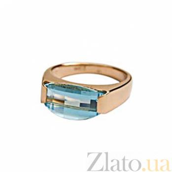 Золотое кольцо с голубым топазом Ния 000030154