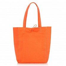 Кожаная сумка на каждый день Genuine Leather 8043 оранжевого цвета на завязках