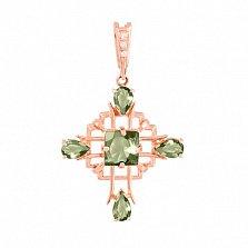 Золотой крестик с зелеными аметистами и фианитами Процветание